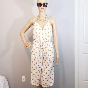 Monteau Polka Dots Faux Wrap Sleeveless Jumpsuit